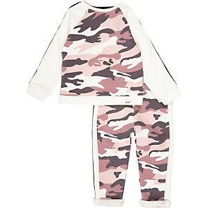Mini girls pink camo sweat set