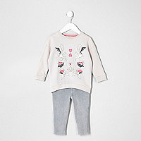 Mini girls grey appliqué sweat set