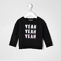 Sweat noir « yeah yeah yeah » mini fille