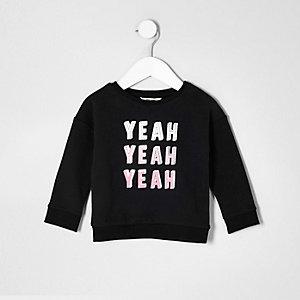Sweat noir « yeah yeah yeah » pour mini fille