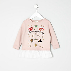 Mini girls pink badge sweatshirt