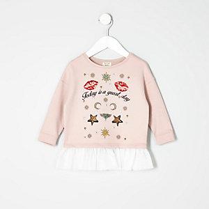 Mini girls pink badge sweatshirt