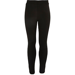 Girls black leggings with piping