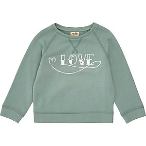 Mini girls mint green print sweatshirt