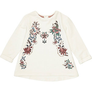 Mini girls cream embroidered swing top