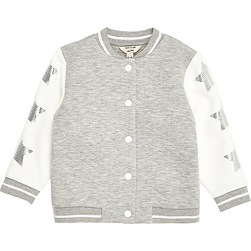 Mini girls grey textured star bomber jacket