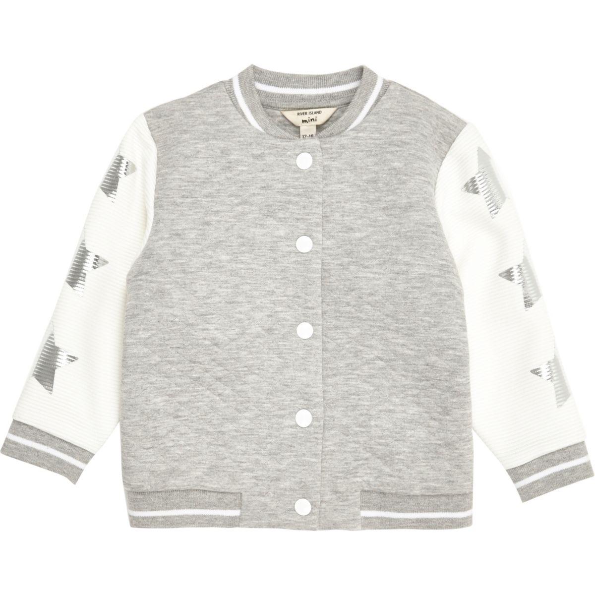Mini girls grey textured star bomber jacket