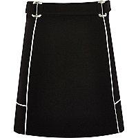 Girls black A-line ponte skirt