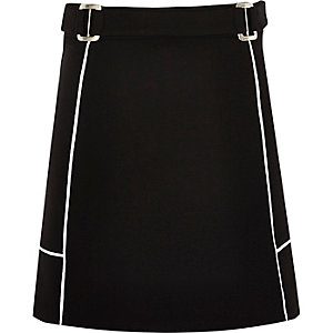 Girls black A-line ponte skirt