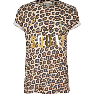 Girls leopard print relaxed fit T-shirt