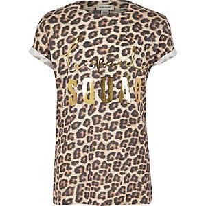 Girls leopard print relaxed fit T-shirt
