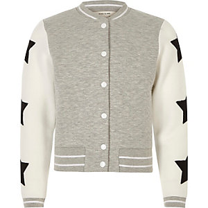 Girls grey quilter star bomber jacket