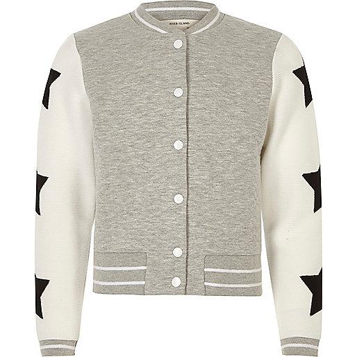 Girls grey quilter star bomber jacket