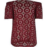 Girls burgundy lace bardot top