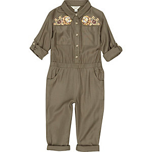 Mini girls khaki embroidered jumpsuit