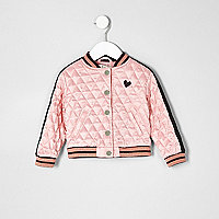 Mini girls pink print quilted bomber jacket