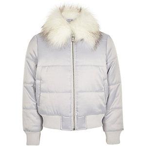 Zilverkleurige gewatteerde jas met imitatiebont voor meisjes