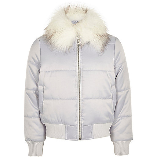 Girls silver puffer coat with faux fur trim