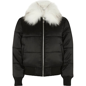 Girls black puffer coat with faux fur trim