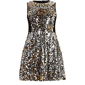 Girls silver sequin prom dress