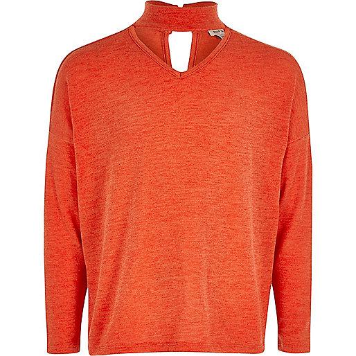 Girls red slouch knit choker sweater