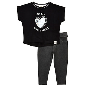 Mini girls black T-shirt leggings