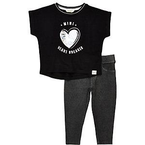 Leggings et t-shirt noir mini fille