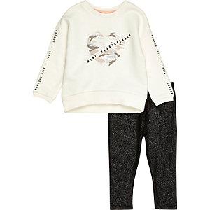 Mini girls sweatshirt and sparkly leggings