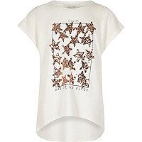 Girls cream sequin star T-shirt