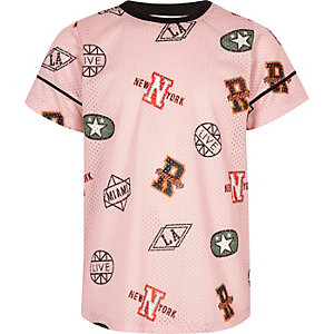 Roze mesh T-shirt met sportprint voor meisjes