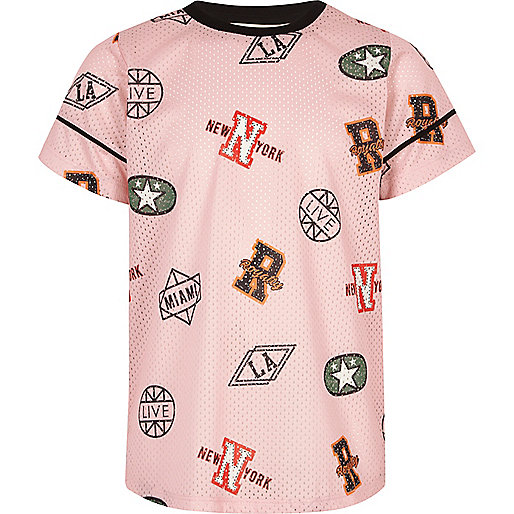 Girls pink sports print mesh T-shirt