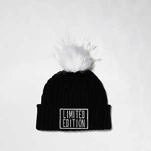 Girls black 'Limited Edition' bobble hat