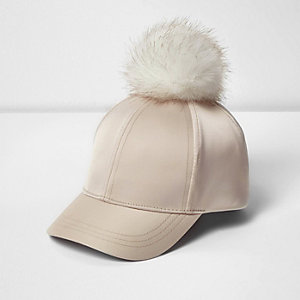 Mini girls cream satin pom pom cap