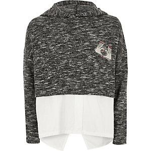 Girls grey woven hem hoodie
