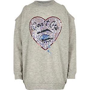 Grijs schouderloos sweatshirt met lovertjes voor meisjes