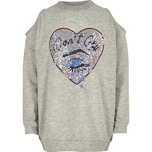 Girls grey sequin cold shoulder sweatshirt