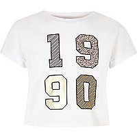 Girls white 1990's embellished crop top