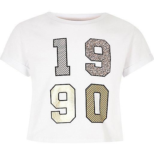 Girls white 1990's embellished crop top