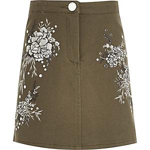 Girls khaki floral embroidered mini skirt