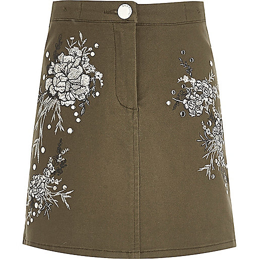 Girls khaki floral embroidered mini skirt