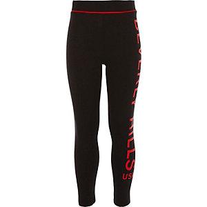 Girls black side print leggings