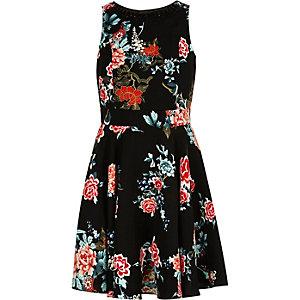 Girls black oriental print prom dress