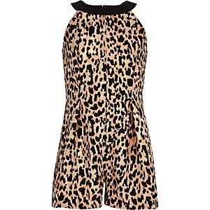 Girls brown leopard print playsuit