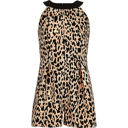 Girls brown leopard print playsuit