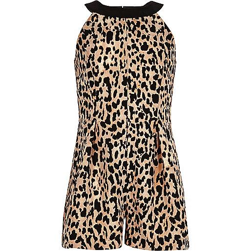 Girls brown leopard print romper