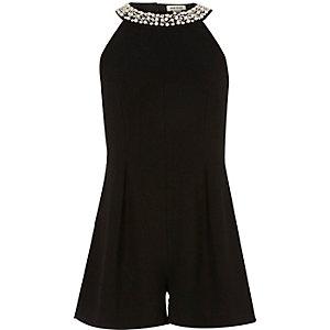 Girls black embellished neck playsuit