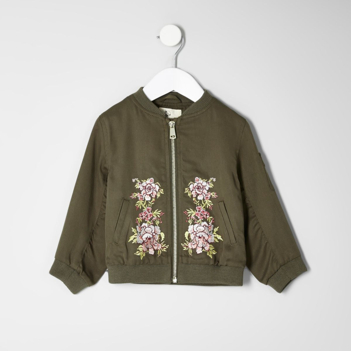 Mini girls khaki embroidered bomber jacket