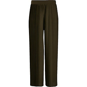 Girls khaki green pleated wide leg trousers