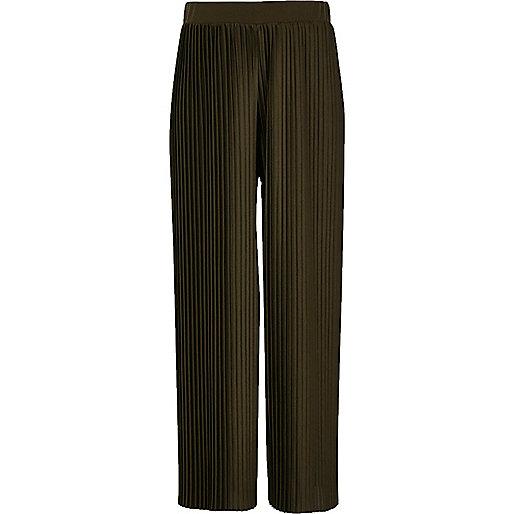 Girls khaki green pleated wide leg trousers