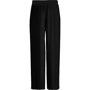 Girls black pleated wide leg trousers